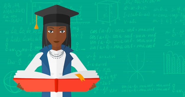 本を持って卒業キャップの女性 Premiumベクター