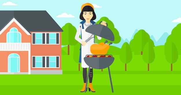 バーベキューを準備する女性 Premiumベクター
