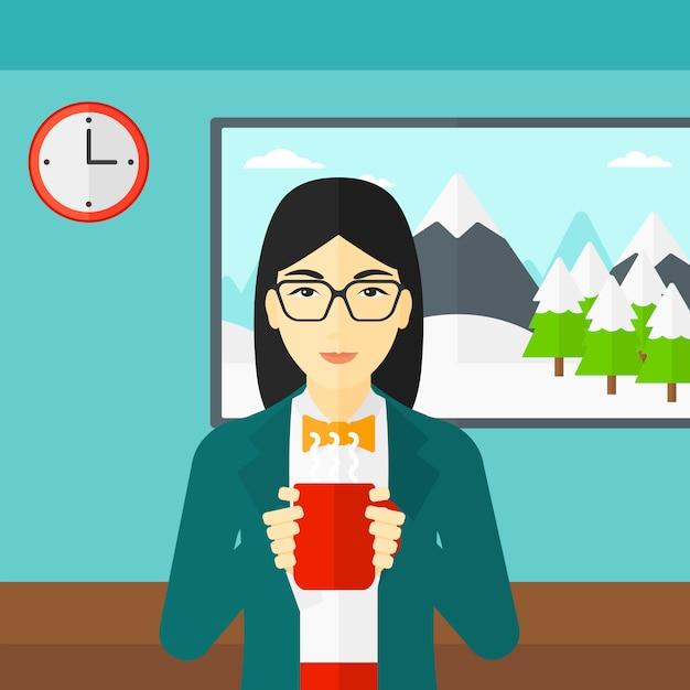一杯のコーヒーと座っている女性 Premiumベクター