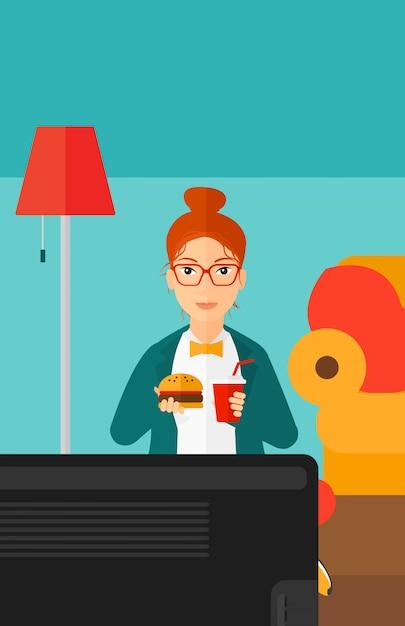 ハンバーガーを食べる女性。 Premiumベクター
