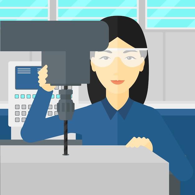 退屈な工場で働く女性。 Premiumベクター