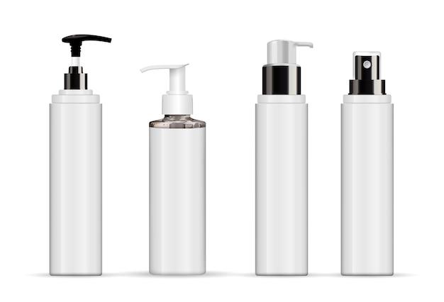 白で隔離される現実的な化粧品の白いチューブのセット Premiumベクター