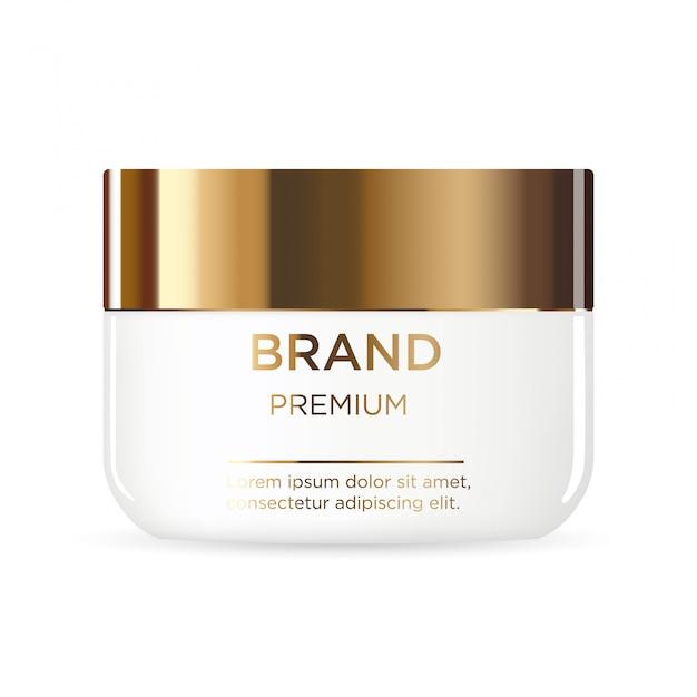 Круглая белая пластиковая банка с золотой крышкой для косметики Premium векторы