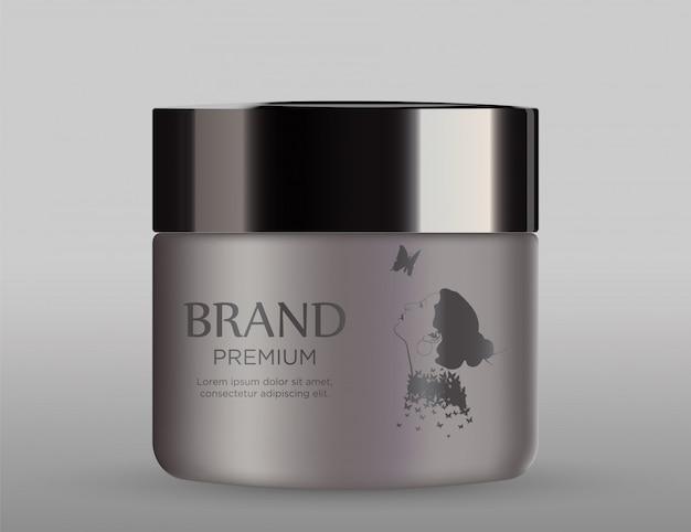 ブラックキャップと化粧品の金属のモックアップ Premiumベクター
