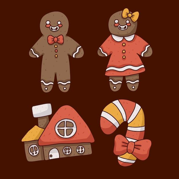 クリスマスジンジャーブレッドクッキーかわいいイラスト Premiumベクター