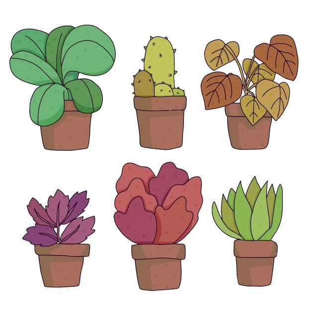 白で隔離植物かわいい漫画 Premiumベクター