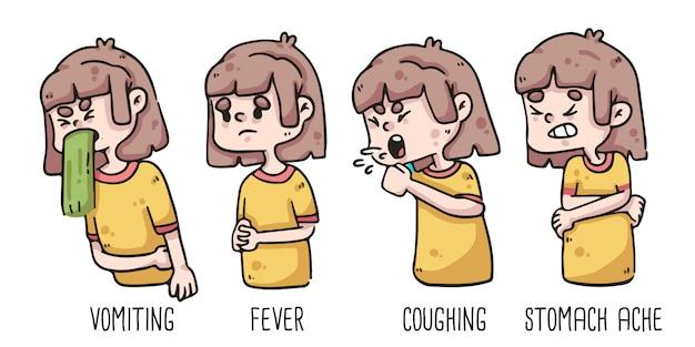 描いている女の子のコロナウイルス嘔吐、発熱、咳、胃痛の初期兆候 Premiumベクター