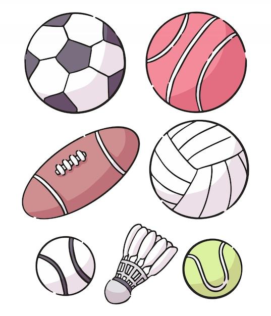 スポーツボールイラスト落書きコレクションのセット Premiumベクター