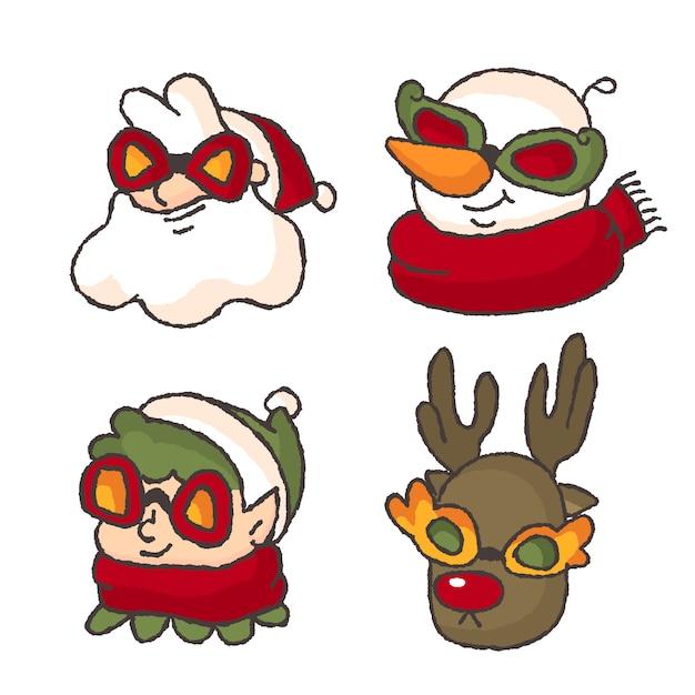 Рождественская хипстерская фотография профиля санта-снеговика-карлика и северного оленя Premium векторы