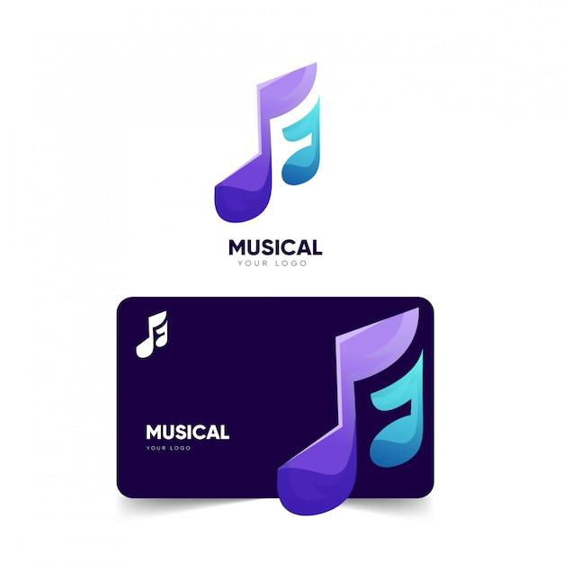 音楽的なロゴデザインと名刺テンプレート Premiumベクター