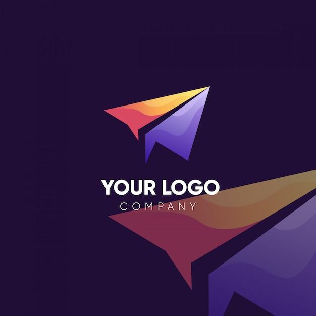 紙飛行機会社のロゴデザイン Premiumベクター