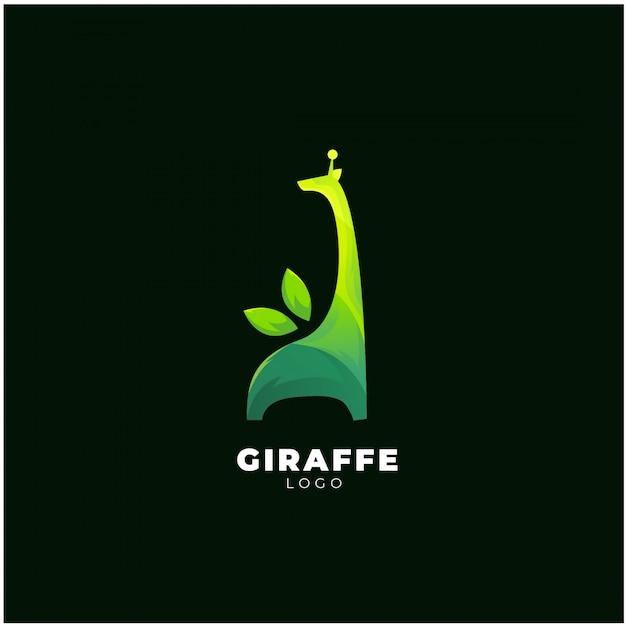 緑のキリンのロゴ Premiumベクター