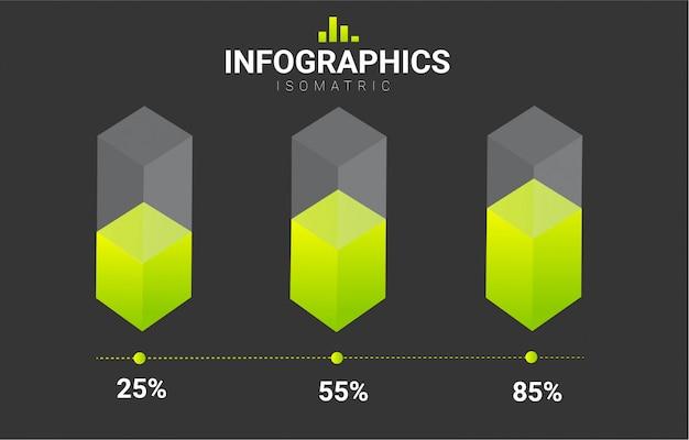インフォグラフィック等尺性ベクターデザインテンプレート Premiumベクター