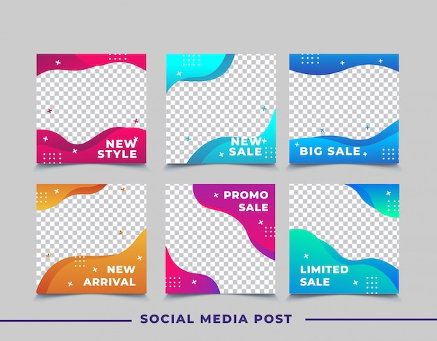 Продажа баннеров для постов в социальных сетях Premium векторы