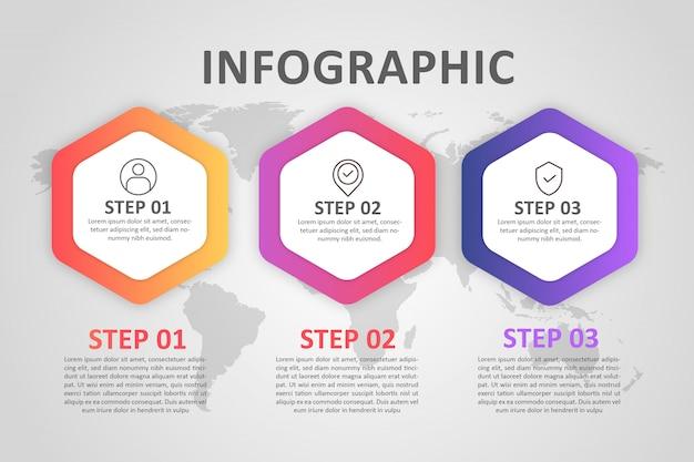 インフォグラフィック六角形ステップフルカラーグラデーション Premiumベクター