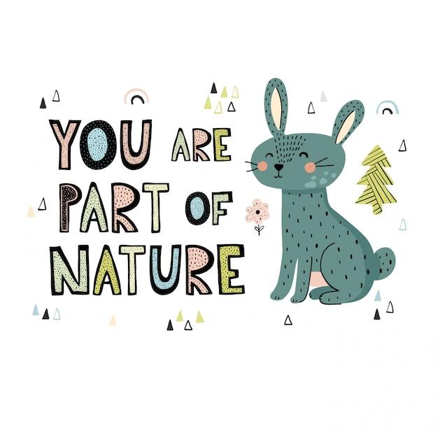 あなたは自然の一部です手描きのレタリング Premiumベクター