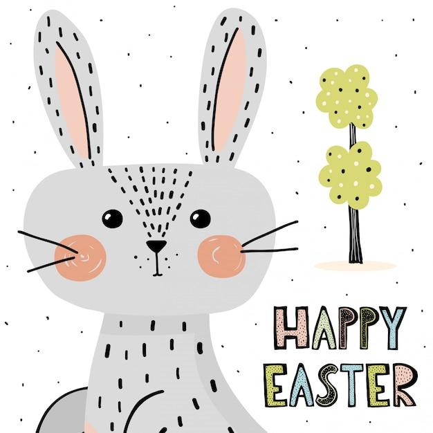 かわいいウサギとハッピーイースターのカード Premiumベクター