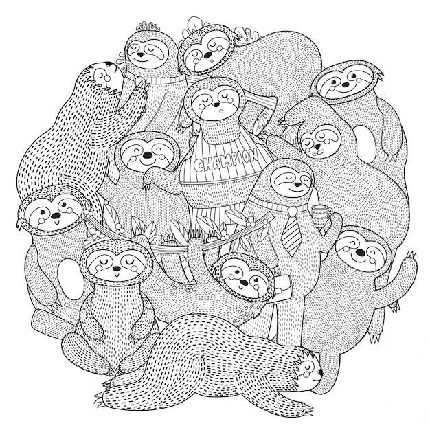 Смешные ленивцы шаблон формы круга для раскраски Premium векторы