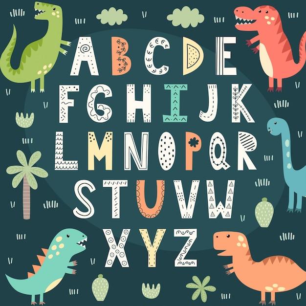 かわいい恐竜と面白いアルファベット。子供のための教育ポスター Premiumベクター