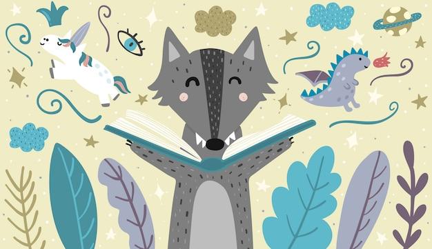 おとぎ話を読んでかわいいオオカミとバナー。ベクトルイラスト Premiumベクター