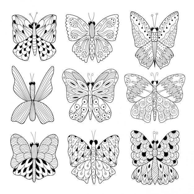 黒と白の蝶のコレクション。着色ページ、カードやチラシのデザインに最適です。ベクトルイラスト Premiumベクター