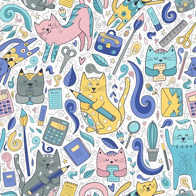 猫とペンのシームレスパターン。面白い学校 Premiumベクター