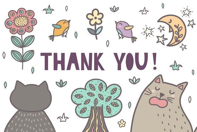 かわいい猫と一緒にありがとうカード。ベクトルイラスト Premiumベクター