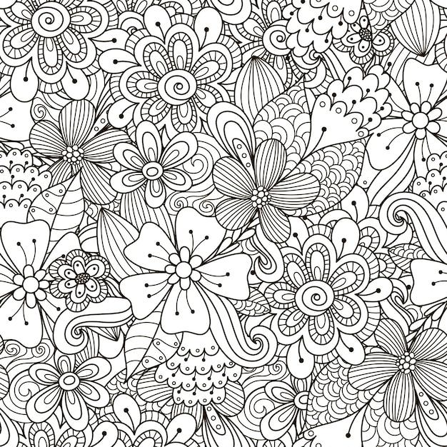 花落書き黒と白のシームレスパターン Premiumベクター