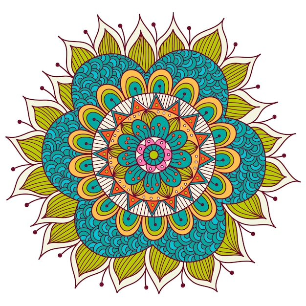 カラフルな花曼荼羅。民族の装飾的な要素 Premiumベクター