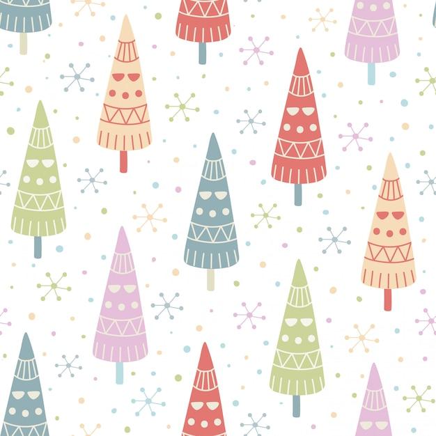 装飾クリスマスツリーのシームレスパターン。 Premiumベクター