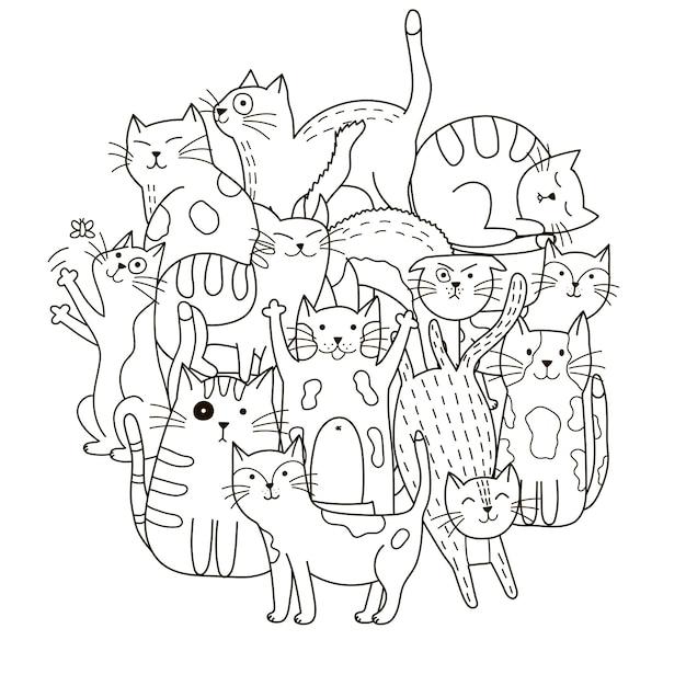 Узор в форме круга с милыми кошками для раскраски Premium векторы
