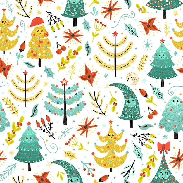 Яркие рождественские бесшовные модели с милыми деревьями. Premium векторы