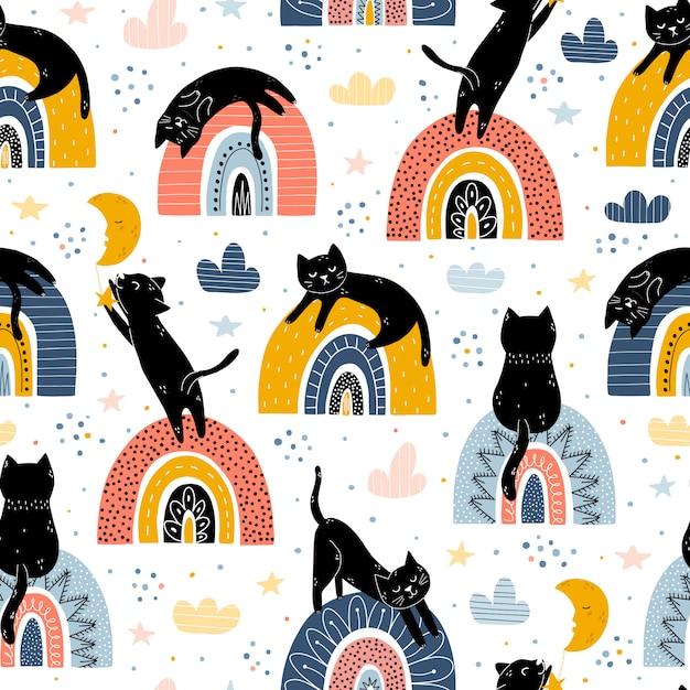 黒猫と虹ファンタジーシームレスパターン。北欧スタイル Premiumベクター