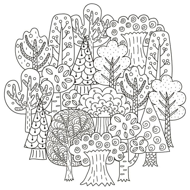 Узор в форме круга с деревьями фантазии для раскраски Premium векторы