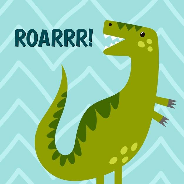 Веселый динозавр ревет. симпатичный принт для футболки и текстильного дизайна. Premium векторы