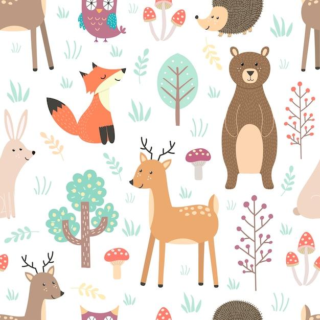 Лесной бесшовный образец с милыми животными - лиса, олень, медведь, кролик, еж и сова. Premium векторы