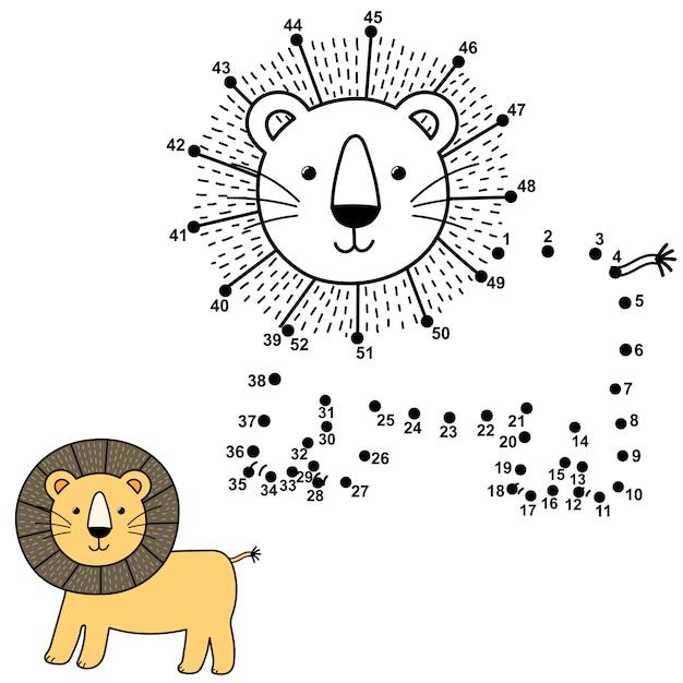 Соедините точки, чтобы нарисовать симпатичного льва и раскрасить его. развивающие номера и раскраски для детей. иллюстрация Premium векторы