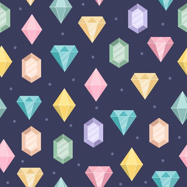 魔法のダイヤモンドのシームレスパターン。 Premiumベクター