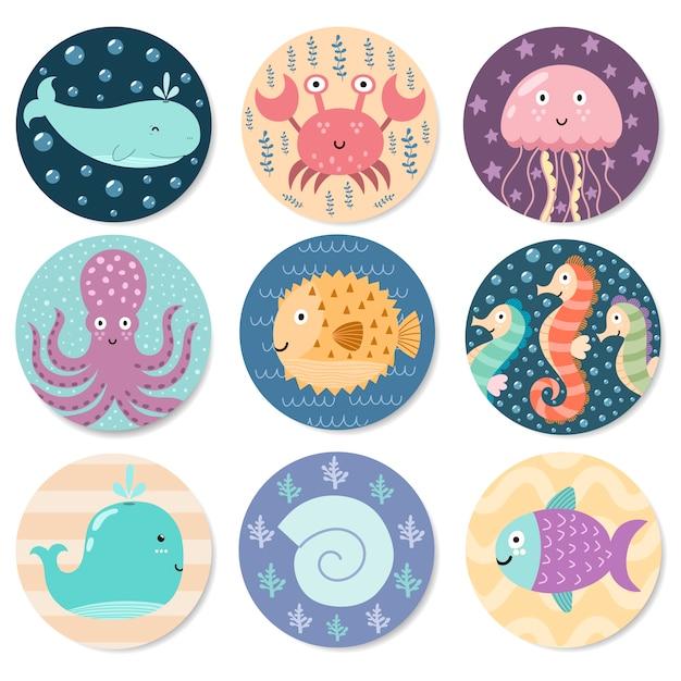 かわいい海の動物たちのステッカーコレクション。 Premiumベクター