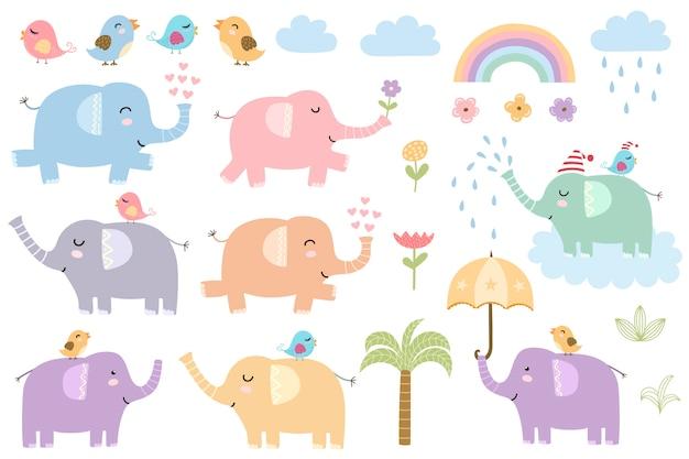 Набор милых изолированных слонов Premium векторы