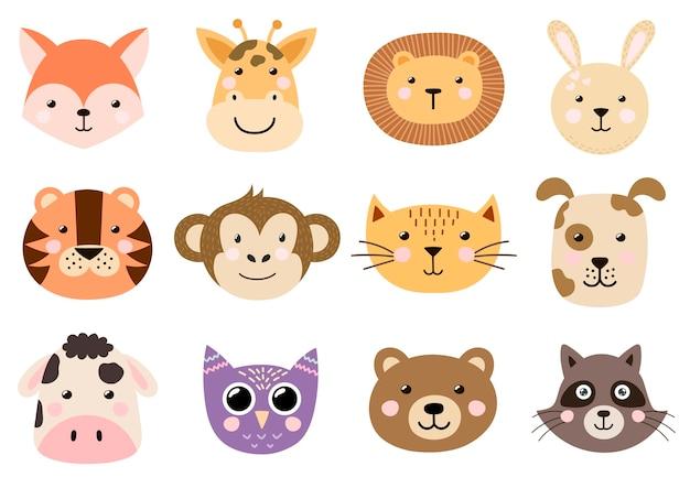 Симпатичные детские животные головы коллекции. Premium векторы