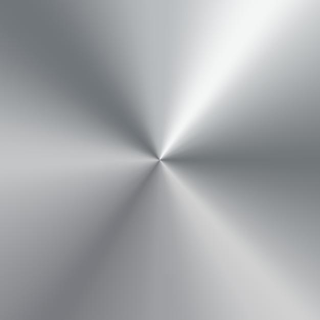 銀の磨かれたプレートの金属円錐形のグラデーション。テクスチャ背景 Premiumベクター