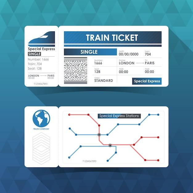 Билет на поезд, элемент дизайна с синим цветом. Premium векторы