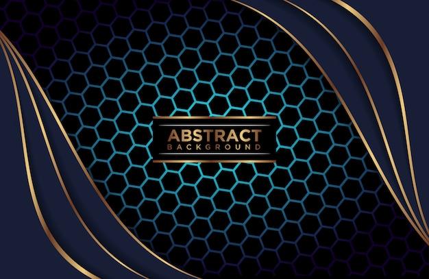 背景の抽象的な多角形の青いレイヤー Premiumベクター