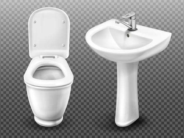ベクトル便器と浴室の流し 無料ベクター