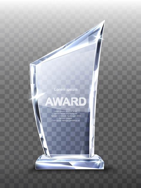 Награда стеклянный трофей на прозрачном Бесплатные векторы