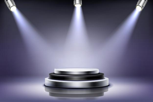スポットライト照明付きの丸い表彰台 無料ベクター