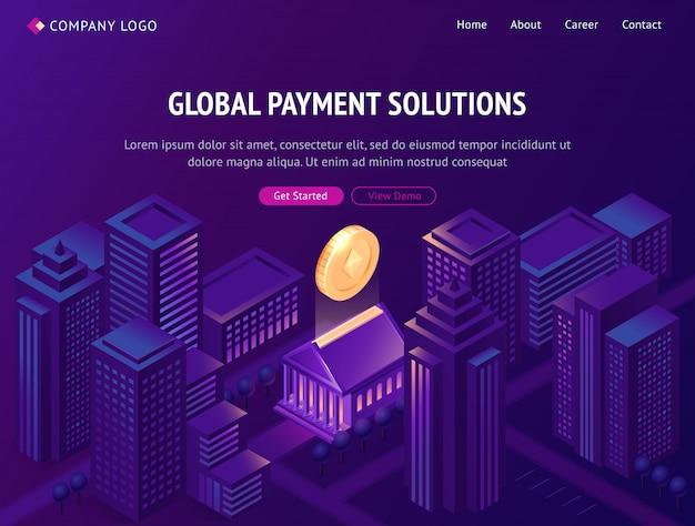 グローバル決済ソリューションの等尺性ランディングページ 無料ベクター