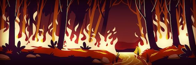 Горящий лесной пожар ночью, пожар в лесу Бесплатные векторы