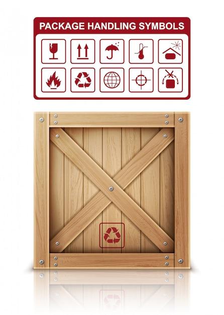 Деревянная коробка и символы упаковки Бесплатные векторы